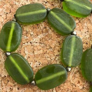Wonderful set of 4 Green art glass bead napkin rings small metal beads handmade