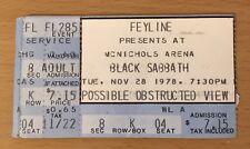 1978 Van Halen Black Sabbath Denver Concert Ticket Stub Eddie David Lee Roth