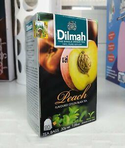 Pure CEYLON DILMAH PREMIUM Peach flavored Black TEA 20 Bags pack Free shipping