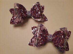2 hairbows  double bow  using transparent  material and glitter GORGEOUS