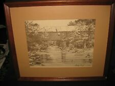 SANDY CLOUGH Etching L.E. Signed & Numbered COVERED BRIDGE 145 / 500