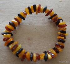 Stretch  multicolor unpolished  Baltic Amber Bracelet