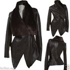de qualité VESTE EN CUIR BLAZER Col fourrure marron 34 36 38 40 42 transition