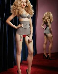 AGENT PROVOCATEUR THORA LACE UP WASPIE SZ 3 NWT HOUNDSTOOTH RED SATIN SEXY