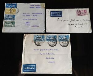 INDIA - INDE / SET 3 LETTRES COVERS AIR MAIL TO FRANCE 1930 - 1931 - 1933