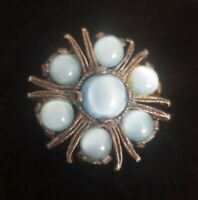 Vintage MIRACLE small Brooch Celtic Scottish Pin blue Stones silvertone vtg