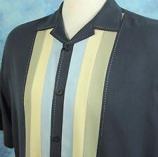 Nat Nast Luxury Originals Men's XL Blue Bowling Shirt Silk Cotton Cigar Lounge
