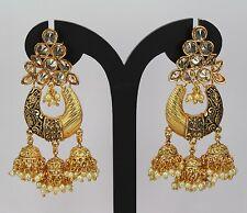 Brand New gold plated polki AD kundan long earring dangle indian jewellery women