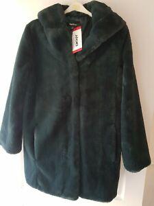 DKNY Ladies Emerald Green Faux Fur Hooded Coat Size Medium