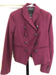 Banana Republic Women's Size 0 ClassIc Wool  Blend Double Breasted Maroon NWOT!