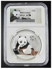 NPGS MS69 2015 China Panda 1oz .999 Silver Coin (UNC)
