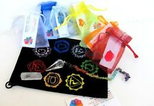Essential Chakra Set C47 7 Tumbled Stones Quartz Point Pendulum Velour Pouch