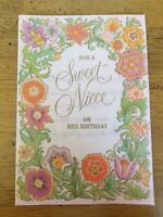 Beautiful Colorful Flowers Vellum Vintage Greeting Card Sweet Niece Birthday