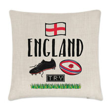 Rugby England Linen Cushion Cover Pillow - Funny League Union Rose Flag Sport