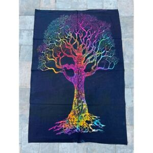 Black Tree 100% Cotton Poster Size Wall Hanging Tapestry 45 x 29 Home Decor Art