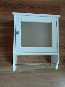 White Wood Single Mirror Door Storage Cabinet with Towel Rail and Internal Shelf