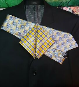 """Men's Polyester Pocket Squares, 10"""" X 9 1/2"""", Yellow/Gold/Blue, Checked"""