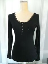 NWT Hollister Black Ribbed Longsleeve Fitted Top Shirt Lace Size Medium