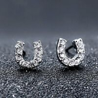 "Lucky Horseshoe""U"" Charm Wish Silver Crystal Earrings Stud Letter Jewellery Gift"