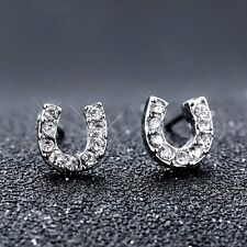 "Lucky Horseshoe""U"" Charm Wish Silver Crystal Earrings Stud Letter Jewellery Gift"