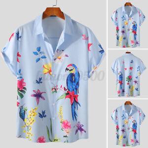 Men's Short Sleeve Hawaiian Floral T Shirt Causal Beach Holiday Button Down Tops
