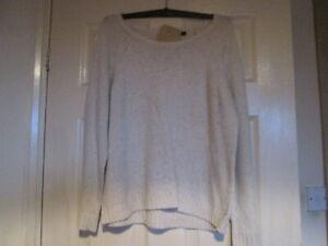 M & Co jumper round neck crew long sleeve cream speckled jumper back zip UK16 M