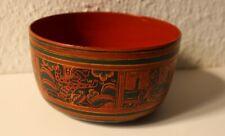 schöne alte Lacquerware Schale bemalt mit schöner Tempelszene aus Myanmar