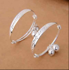 Children Baby Girls Boys Toddlers Adjustable Size  Silver Bracelet