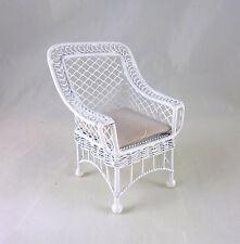Dollhouse Miniature Bar Harbor White Wicker Chair, AL042