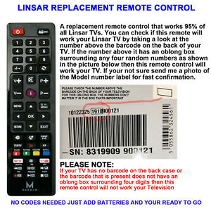LINSAR TV REMOTE CONTROL A REPLACEMENT THAT WORKS 90% OF LINSAR LCD/LED TVs