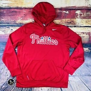 Mens Sz L Vtg  Nike Philadelphia PHILLIES Therma Fit Baseball HOODED Sweatshirt