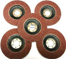 """115mm 4.5"""" 40 Grit Flap Discs Pack of 5 Flat Sanding Grinder Abrasives  TZ AB010"""