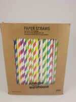 Paper Straws Diodegradable 200 Pack - Ystdom Rainbow Stripe Paper Drinking with