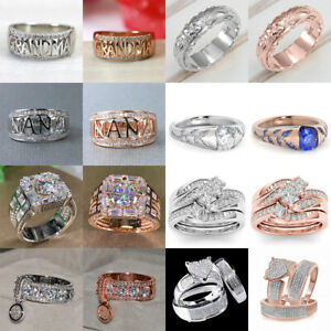 Fashion 925 Silver,Rose Gold Rings Women White Sapphire Jewelry Gift Size 6-10