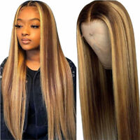 Fashion Ombre Brown Human Hair Wigs Brazilian Full Lace Remy Lace Front Wig UK ~