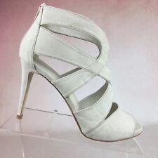 DAVID's BRIDAL Keira Beige Strappy Stiletto Heels Back Zipper Shoes Women's 10M