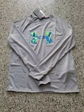 New Under Armour Youth Boy's Gray Graphic Long Sleeve T-Shirt Size: Medium