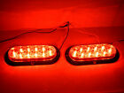 """2 TWO - 6"""" Oval Red Flange Surface Mount Stop Turn Tail 10 LED Trailer Light"""