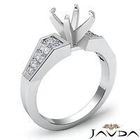 Genuine Diamond Engagement Ring 14k White Gold Princess Round Semi Mount 0.78Ct