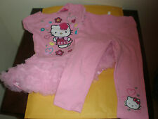 HELLO KITTY 4T GIRLS 2 PIECE OUTFIT DRESS/TOP STRETCH PANTS PINK NWT