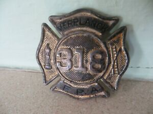 Obsolete early 1900's Verplanck NY Fire Dept. uniform hat badge Fire Protection