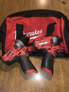 "Milwaukee M12 Fuel Brushless 1/2"" Hammer Drill 1/4"" Hex Impact Tools Only Works"