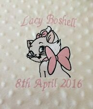 personalised dimple fleece baby blanket Marie Aristocats