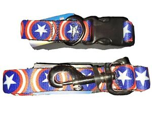 NWT Buckle Down Products Captain America Logo 4 Foot Nylon Leash & Collar Combo