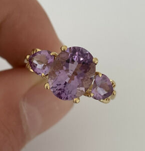 9ct Gold Amethyst Large 3 Stone Ring, 9k 375