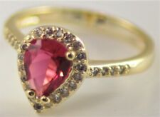 BNWOT Sparkling Costume jewellery ring pink pear drop stone U.K. Size K 1/2