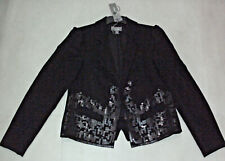 Sussan: Size: 8-10. Stylish BLACK with Granite Square-Sequins Fully Lined Jacket