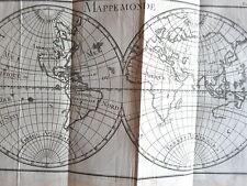 CARTE MAPPE MONDE GRAVURE originale PLUCHE SPECTACLE de LA NATURE 1729