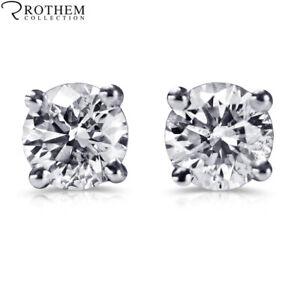 1 Carat Diamond Stud Earrings One ct White Gold Studs ctw SI2 £2,350 34251867