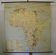 Schulwandkarte Wandkarte Karte Afrika Africa Bergbau Industrie 151x162 ~1960 map